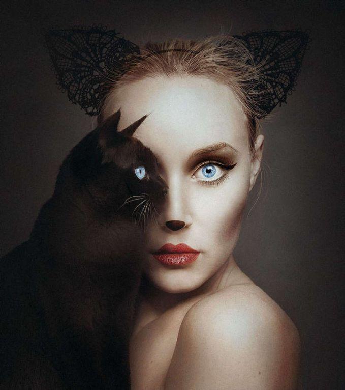 Borsi menggabungkan berbagai macam hewan dengan wajahnya. Mata hewan dan matanya di jadikan satu wajah sehingga menandakan menyatu dengan alam. Dia juga ahli untuk menggunakan makeupnya sendiri sesuai dengan hewan yang dia foto.
