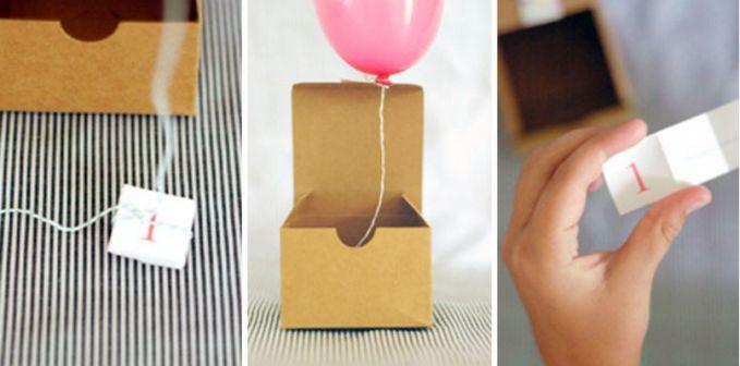 Ini undangan dengan desain unik, kalau tutup atas Boxnya di buka maka akan muncul balon-terbang, dengan seutas tali, dan bagian bawah berisikan kertas berisikan info lengkap acaranya.