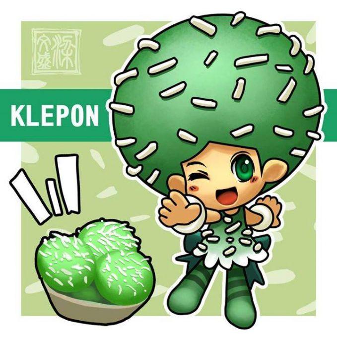 Klepon Makanan ini berwarna hijau dalamnya berisi gula merah dan diatasnya ditaburi parutan kelapa.