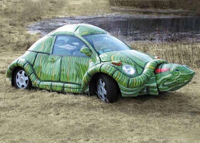 Duh, unyu-unyu sekali mobil kura-kura ini.