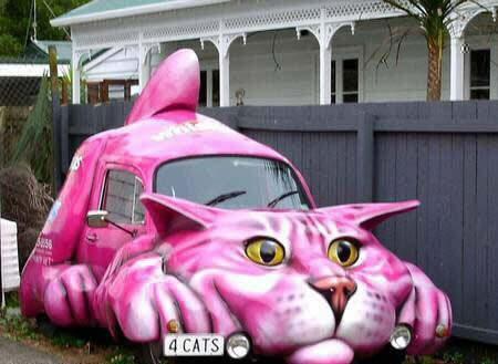 Beginilah kalau pecinta kucing menunjukkan ekspresi cintanya pada sebuah mobil. Jadilah Cat Car.