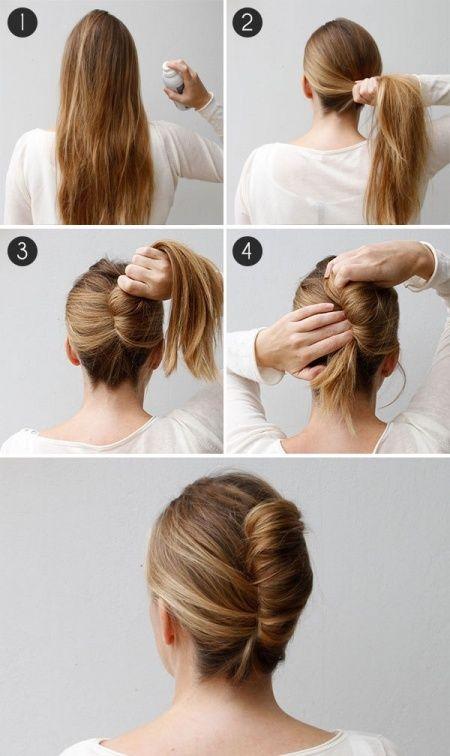 Yang punya rambut panjang dan buru-buru mau ngantor, bisa coba gaya rambut ini.