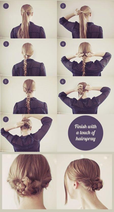 Dengan mengepang rambut lalu digulung dibelakang, dan jangan lupa semprotkan hairspay.