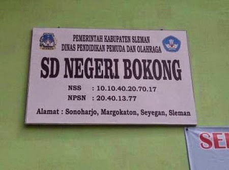 SDN BOKONG sebuah sekolah dasar yang berada di utara desa sonoharjo, margokaton, seyegan, sleman, yogyakarta!Namanya memang cukup aneh, tetapi dengan nama itu menjadikan sekolah itu unik dan mempunyai nama yang lain dari pada yang lain Nama bokong dulunya berasal dari nama dusun sonoharjo yang dulunya bernama dusun bokong, dengan bertempatnya sekolah dasar itu di dusun bokong maka sekolah itu di namakan sdn bokong sampai sekarang walau dusun bokong telah berganti nama menjadi dusun sonoharjo