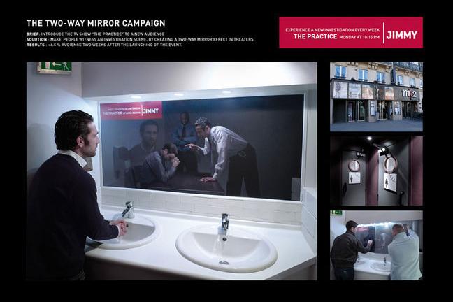 Iklan kaca seolah kita menjadi saksi di ruang introgasi seperti di FIlm-Film