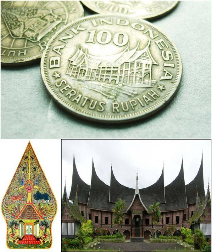 Rumah gadang khas Sumatera Barat dan wayang.