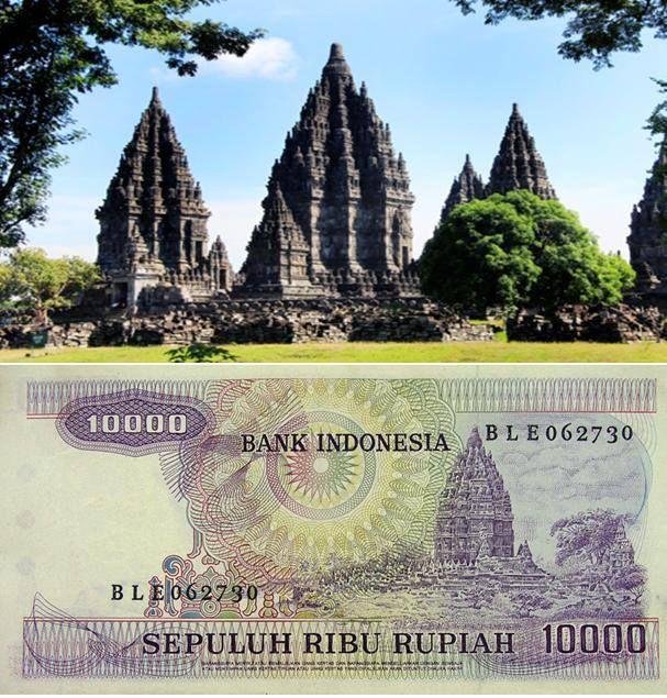 Candi Prambanan, Jawa Tengah pada gambar uang 10.000 Rupiah