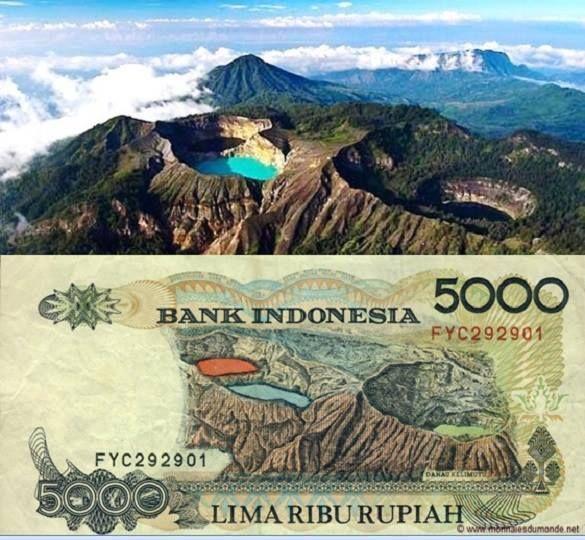 Danau Kalimutu di Pulau Flores Provinsi NTT pada gambar uang pecahan 5000 Rupiah