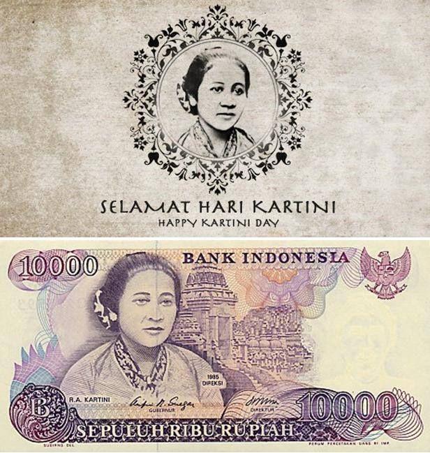 Ibu kita Kartini pada gambar uang pecahan 10.000 Rupiah