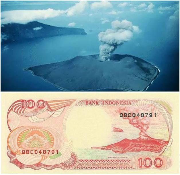Gunung Krakatau di Selat Sunda pada gambar uang pecahan 100 rupiah