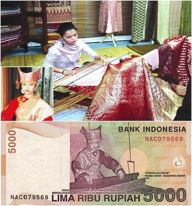 Natasha Annestessya, sosok model perajin tenun Pandai Sikek yang ada dalam uang Rp 5.000.