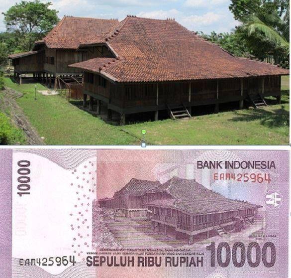 Selain gambar pahlawan nasional Sultan Mahmud Badarudin II, di balik uang Rp 10 ribu juga terdapat gambar Rumah Limas yang merupakan ciri khas dari Sumatera Selatan.