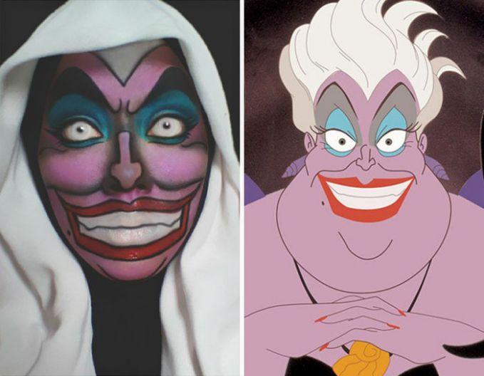 #2 Ursula Ursula adalah dukun di dunia bawah laut. Ia menjadi harapan terakhir dari Si Ariel untuk membantunya menemukan cintanya pada manusia. Ariel harus merelakan suara indahnya sebagai ganti untuk berubah menjadi manusia. Lihat lah make-up yang dilakukan oleh Saraswati!
