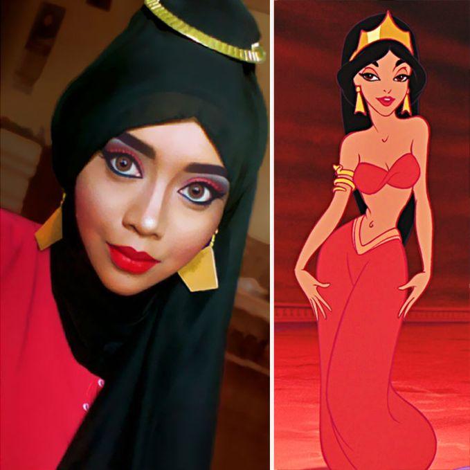 #3 Putri Jasmine Putri cantik dari negeri 1001 malam ini adalah wanita pujaan Alladin yang merupakan laki-laki biasa yang baik hati. Ini adalah busana yang dikenakan Putri Jasmine saat berada di istananya. Saraswati coba mengikuti gaya make up gambar tersebut dan hasilnya cukup mengesankan.