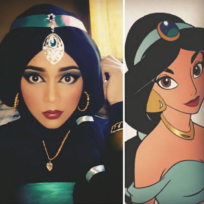 #4 Putri Jasmine Kali ini putri yang cantik jelita ini menggunakan busana rakyat jelata supaya ia dapat berbaur dengan warganya. Busana dan tata riasnya terlihat cantik sederhana. Meskipun berhijab, Saraswati dapat mirip seperti Putri Jasmine.