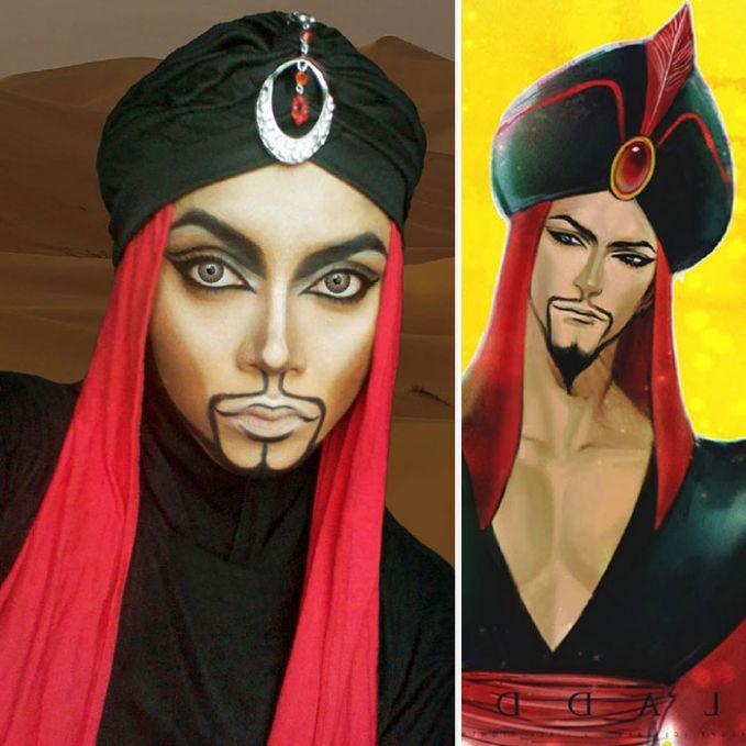 #5 Jafar Masih ingat dengan tokoh antagonis ini? Ia merupakan musuh dari Alladin. Ia ingin menikahi Putri Jasmine hanya karena ingin menguasai kerajaan. Sayangnya hal itu dapat dicegah oleh Alladin si pemilik lampu ajaib. Kreativitas Saraswati dapat meniru wajah dari Jafar.