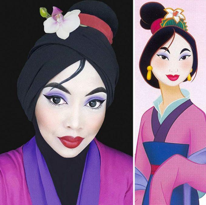 #6 Mulan Mulan adalah putri dari seorang raja di Cina. Ia sedih melihat peperangan yang terjadi sehingga memutuskan untuk melarikan diri dari kerajaan. Ia memutuskan untuk memotong rambutnya dan mengikuti berperang dengan menyamar sebagai seorang laki-laki. Make up Saraswati mirip seperti Mulan yang ada di gambar di sampingnya.
