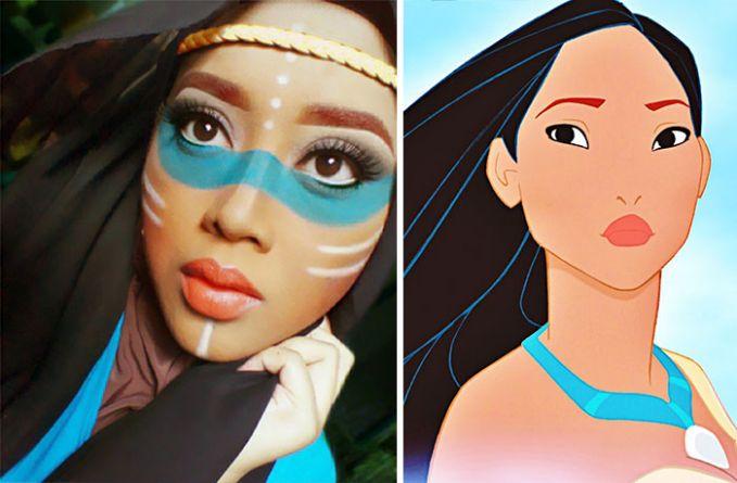 #7 Pocahontas Seorang wanita cantik yang tinggal di suku pedalaman. Ia dihadapkan pada kehidupan yang penuh intrik di tempat yang jauh dari teknologi. Dengan make up yang sedikit berbeda dari kartun di sampingnya, Saraswati mencoba mem