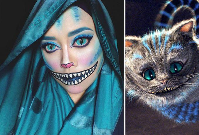 #10 Cheshire Cat Kucing ini pertama kali ditemui oleh Alice saat berada di Wonderland. Kucing tersebut sedang berbaring di dahan pohon. Yang khas dari kucing ini adalah senyumannya yang lebar. Apakah riasan Saraswati sudah mirip dengan Cheshire Cat?