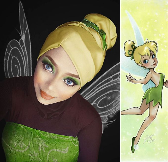 #12 Tinkerbell Tinkerbell adalah salah satu peri yang memiliki kekuatan ajaib. Ia selalu menjaga Peter Pan dan kawan-kawan saat menghadapi kapten bajak laut yang kejam. Hijab dari Saraswati dibuat seolah-olah menjadi rambut Tinkerbell.