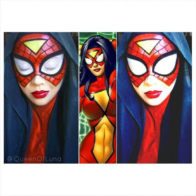 #3 Spiderwoman Spider-Woman adalah karakter pahlawan super dari komik Marvel. Sang ayah dari Jessica Drew menyuntikan sebuah serum yang diambil dari DNA laba-laba karena Jessica sakit parah terkena radiasi uranium. Akhirnya ia menjadi superhero dan bergabung dengan SHIELD. Saraswati juga mencoba seni meriasnya menjadi Spiderwoman.