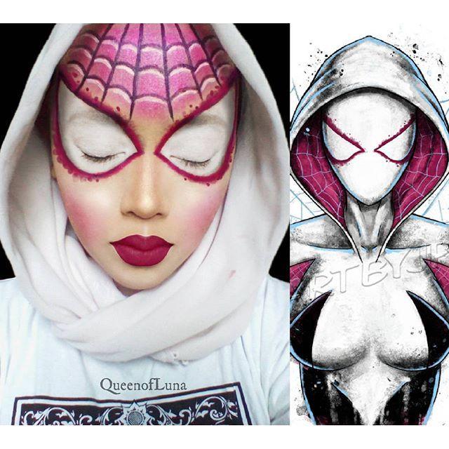 #4 White Spiderwoman Spiderwoman ini bernama Gwen Stacy. Kekasih dari Peter Parker kan? Bener! Tapi Gwen Stacy ini berasal dari bumi dimensi yang lain. Ia melakukan perjalanan antar dimensi untuk menolong Peter Parker yang menjadi gila karena tidak dapat menyelamatkan Gwen Stacy di dunianya karena dibunuh Green Goblin. Saraswati juga mencoba tampil seperti superhero ini.