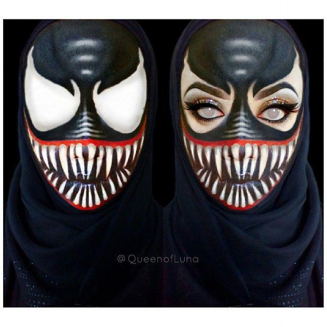 #6 Venom Upsss hampir ketinggalan, Venom ada dalam serial Spiderman. Ia memiliki gen alien yang bersimbiosis dengan gen laba-laba. Venom adalah musuh dari Spiderman. Saraswati merias wajahnya agar terlihat seperti Venom