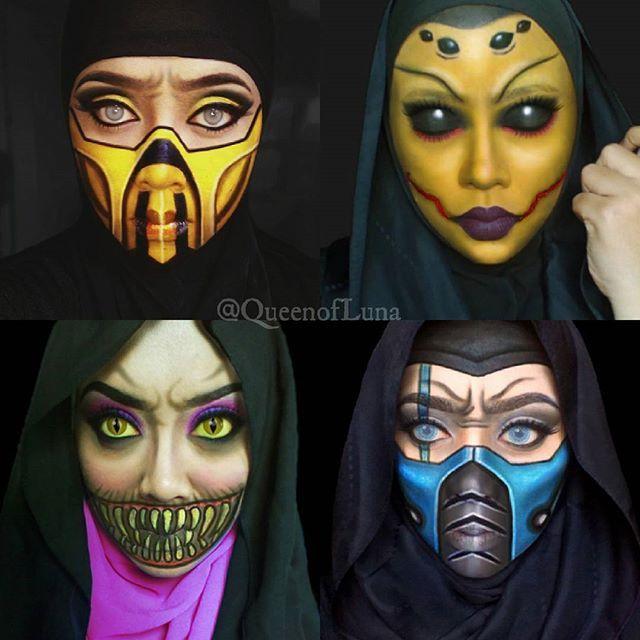 #14 Keempat tokoh ini ada pada Mortal Kombat Cerita tentang pertempuran maut satu lawan satu dalam sebuah arena. Keempat tokoh ini adalah Scorpion, Mileena, Divorah, dan Sub Zero. Saraswati juga mencoba merias wajahnya sendiri menjadi keempat tokoh itu.