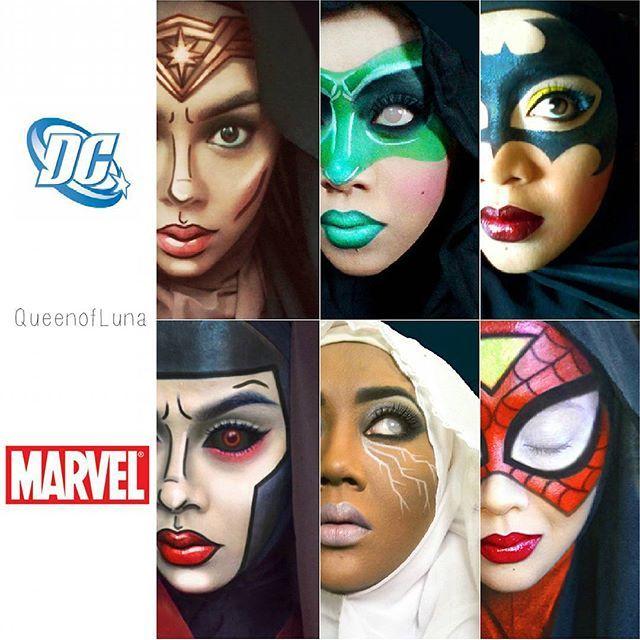 #16 DC Comics atau Marvel Comics Keduanya merupakan inspirasi dari Saraswati dalam membuat riasan unik pada wajahnya. Meskipun berhijab, itu tak menghalanginya dalam mengekspresikan bakat luar biasanya dalam merias wajah.