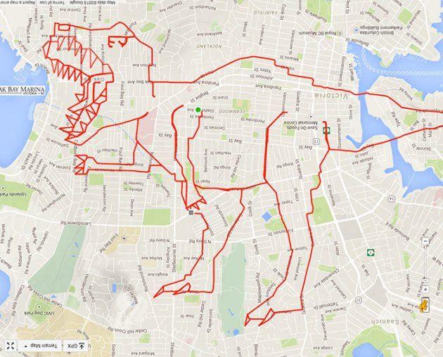 #12 T-Rex Terinspirasi dari raja dinosaurus. Stephen membuat gambar T-rex pada Google maps.