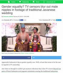 Di salah satu prog infotaiment TV ini, pengantin pria berbusana adat jawa pun kena sensor. Helo KPI! Sehat?