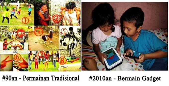 #15 MAINAN Anak jaman dulu bermain di luar rumah dan berinteraksi dengan banyak orang. Anak jaman sekarang banyak bermain di dalam rumah dan berinteraksi dengan gadget.