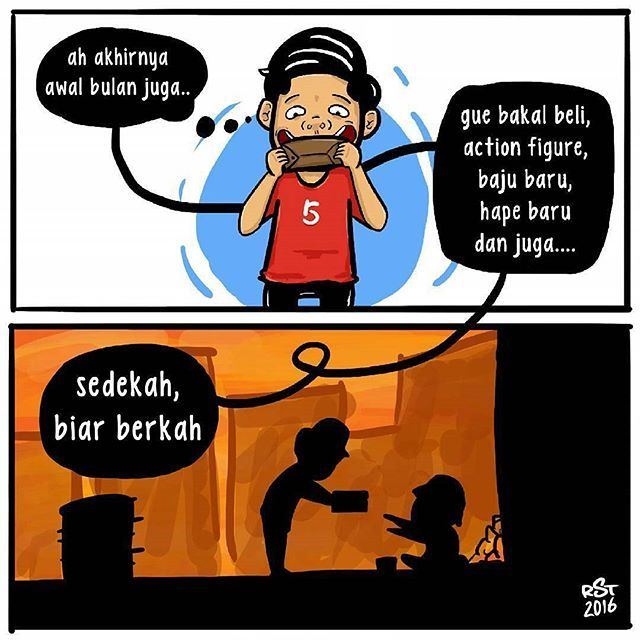 #15 SEDEKAH Ternyata masih ada kebiasaan baik yang dilakuan orang Indonesia saat ini. Meskipun baru saja menerima uang, ia tidak lupa memberi sedekah kepada orang yang membutuhkan. @komik.land