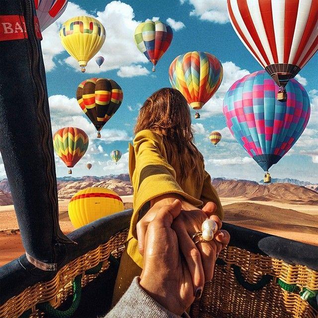 #4 BALON UDARA Pasangan romantis ini mencoba memacu adrenalin mereka pada tempat ketinggian ini. Mereka sedang mengambil gambar dari balon udara saat berada di negara Yordania.