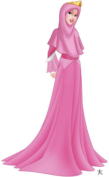 #2 Aurora si tukang tidur yang demen warna merah muda. terlihat adem di hati dengan hijab merah muda nya