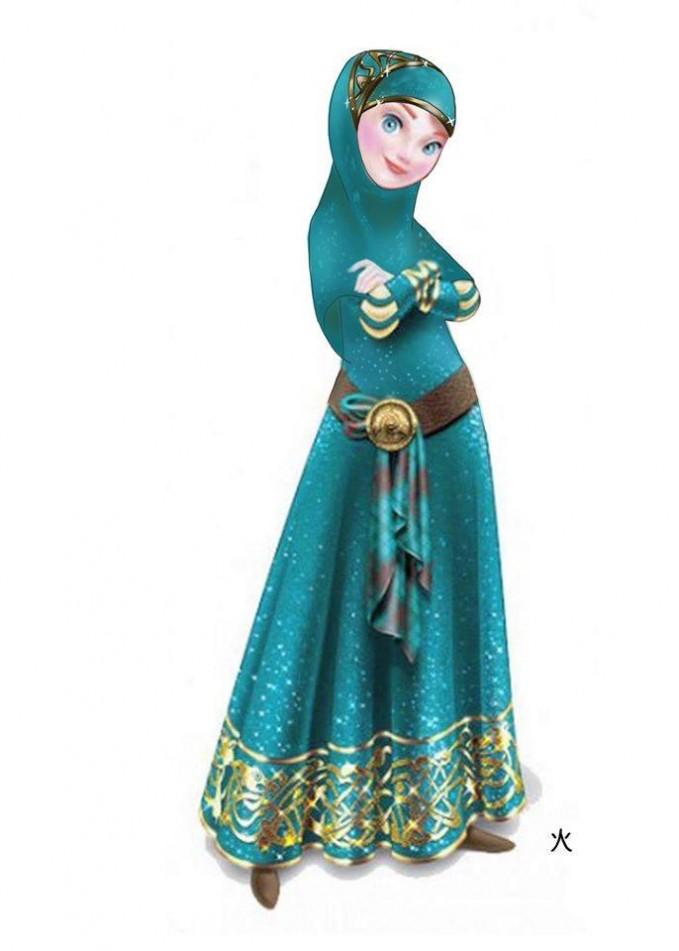 #8 princess merida, BRAVE. Kali ini perubahannya bikin pangling. rambut merah berantakannya tersimpan rapi dalam jilbab. Mirip Anna ya ?