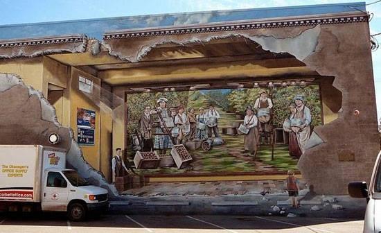 #12 LUKISAN Dinding ini tampak seperti lukisan yang ada di dalamnya. Ya anda benar, ini adalah lukisan dalam lukisan.