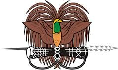 Papua Nugini Lambang negara Papua Nugini, menampilkan gambar Burung Cendrawasih bertengger di atas tombak tradisional dan sebuah gendang kundu .