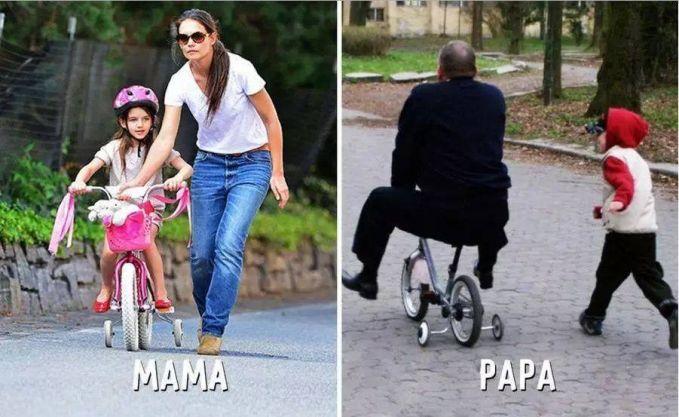 #4 SEPEDA MAMA : Membantu anaknya untuk belajar naik sepeda. PAPA : Kesal dengan anaknya yang susah diajarin, papanya sendiri yang akhirnya memakai sepedanya.