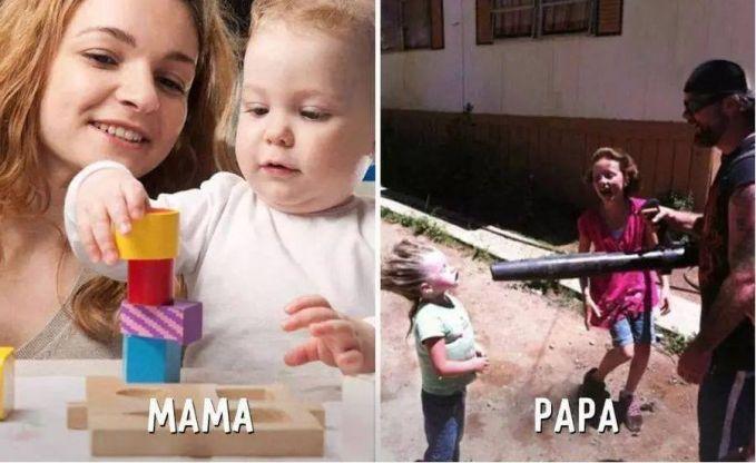 #9 BERMAIN MAMA : Mengajari anaknya untuk bermain dan melatih kecerdasannya. PAPA : Anaknya dijadikan mainan. Hahaha.