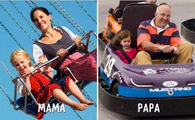 #10 WAHANA MAMA : Saat berada di wahana permainan, maka anak akan diajak dengan wahana yang sangat aman. PAPA : Berbeda dengan sang papa yang malah mengajak anak bermain dengan wahana yang menegangkan.