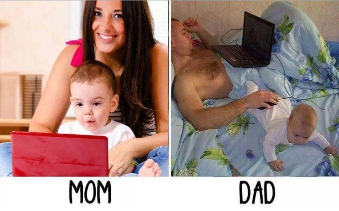 #11 LAPTOP MAMA : Anak akan dilibatkan saat mengerjakan sebuah pekerjaan di laptop. PAPA : Sedangkan yang dilakukan oleh papa, ....hmmm anak dijadikan alas mouse.
