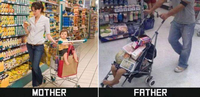 #12 BELANJA MAMA : membawa trolly belanja dan anaknya didudukkan pada tempat duduk yang ada di trolly. PAPA : membawa kereta dorong anak yang sekaligus dijadikan tempat menaruh barang belanjaan.