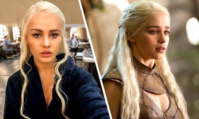 Nah, kalau yang ini cantikan mana kliklinker, Emilia Clarke atau pemeran penggantinya Rosie Mac di Film Game of Thrones