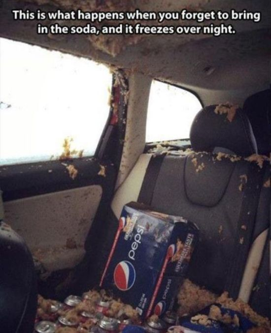 Hal ini terjadi karena kelupaan meletakkan soda didalam mobil yang suhunya dingin banget..mau coba Pulsker?
