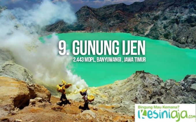 #9 Gunung Ijen Ke ujung timur Pulau Jawa, yuk! Tepatnya di Kabupaten Banyuwangi, Jawa Timur, terdapat gunung yang cocok untuk didaki oleh pemula, yaitu Gunung Ijen. Di sini, kamu bisa menikmati indahnya pesona kawah Ijen di ketinggian 2.443 mdpl di mana para penambang tradisional melakukan aktivitas penambangan belerang, lho. Mendakilah dari dini hari, biar kamu bisa menikmati indahnya fenomena api biru kawah Ijen. Dari pos pendakian Paltuding, kamu cuma butuh sekitar 2,5 jam untuk sampai ke puncaknya. Tetap hati-hati ya, karena medannya berpasir dan lumayan curam pada beberapa titik di jalur pendakian. Credit Foto: rizkirahmatia.wordpress.com