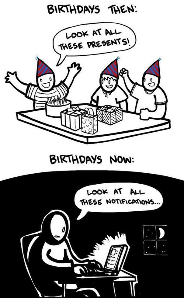 Zaman dulu, kalau ulang tahun itu surga hadiah. Kalau ulang tahun zaman sekarang, bom notifikasi di media sosial.