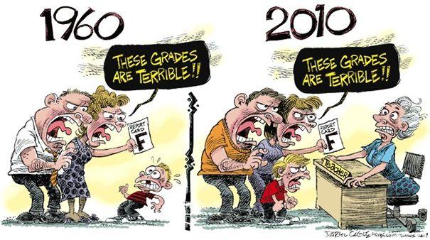 Dapat nilai jelek dulu pasti kena comel orangtua. Kalau sekarang pasti yang diteror para guru. Dibilang nggak becus ngajarlah, kurikulum nggak jelaslah. Ya nasib!
