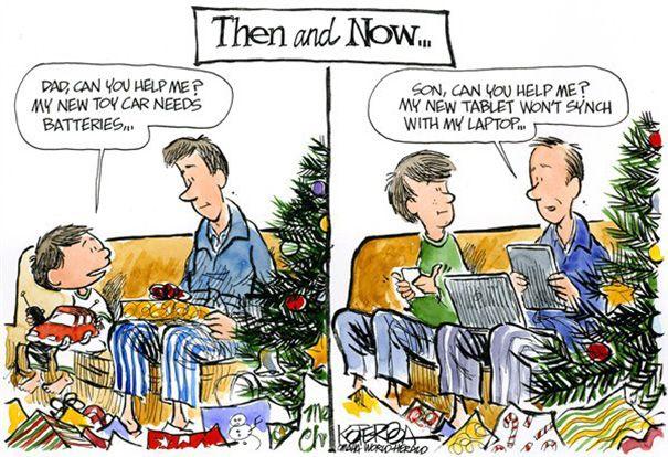Anak zaman dulu kalau nggak ngerti pasti minta tolong orangtua. Kalau zaman sekarang, karena teknologi yang makin canggih, orangtua malah yang mesti sering nanya anaknya cara pakai ini itu karena gaptek.