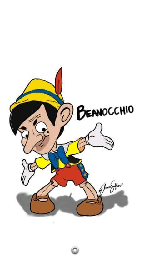 #18 PINOKIO Wah boneka kayu juga kena ulah dari pembuat ilustrasi ini ya. Pinokio semakin menggemaskan dengan wajah Mr Bean.